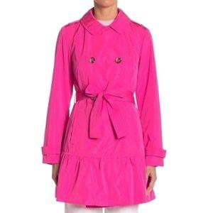 Kate Spade Flounce Hem Electric Pink Trench Coat M